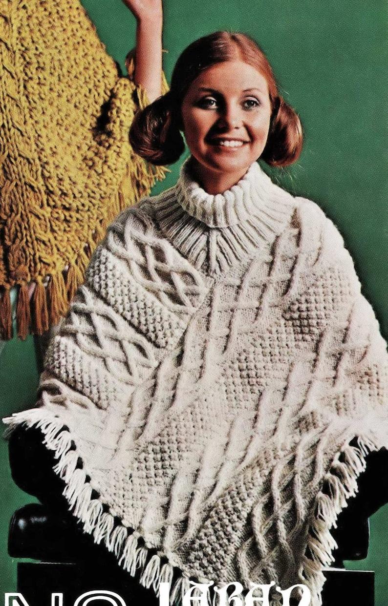 Digital Download PDF C122 Three Fabulous Ladies Aran Ponchos Vintage Knitting Pattern