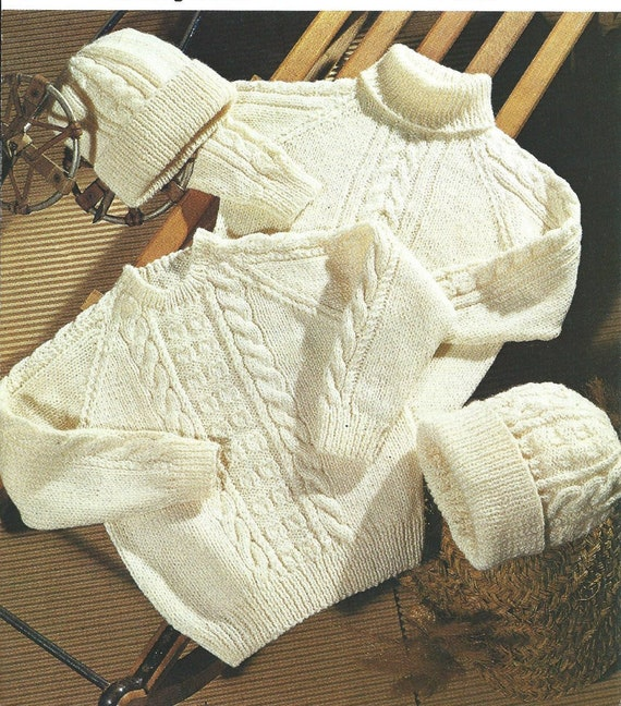 Cuddly Childs Boys Polo Neck Aran Cable Sweater Jumper Knitting Pattern