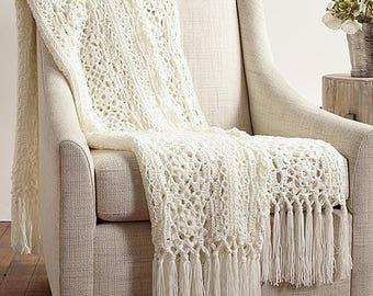 Irish Lace Crochet Afghan, Lacy Blanket, Throw Rug, Crochet Pattern,  PDF, Digital Download
