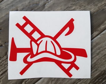 Red Fireman's Tools Vinyl Decal