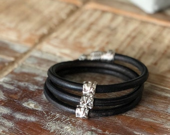 Sterling Silver Handmade Sliders with Dragonflies on Distressed Black Triple Wrapped Leather Bracelet