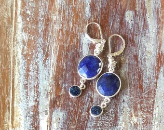 Blue Druzy & Lapis Lazuli Sterling Silver Drop Earrings