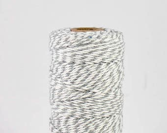 FULL SPOOL Grey and White Baker's Twine - 100m