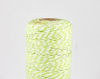 FULL SPOOL Apple Green and White Baker's Twine - 100m