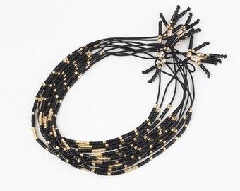 New style Black Beaded Bracelet, Tassel Bracelet, charm Bracelet,