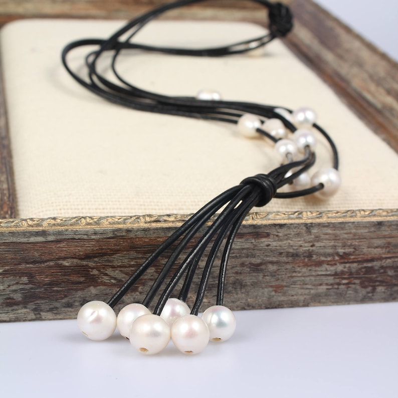 White Pearl necklace,Leather neckalce,Pearl Leather Necklace,Freshwater Pearl Jewelry Wedding Pearl Necklace Gift For Bridesmaid Mom
