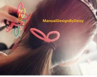Colorful  Rabbit ears Hair Tie,Cute Hair Band, Adult Elastics,  Christmas gift,Original Design