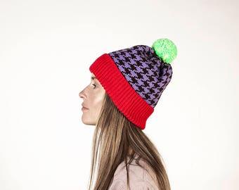 AITA winter Headwear  for Men Women  Hat  Handmade pom pom Beanie  wool hat  knitted  unisex  Chanel pattern bebd6c846c1