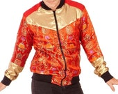 Red Gold Lucky Fish - Kimono Bomber - ( Bomber Jacket Women, Bomber jacket Man, Unique Bomber Jacket, Cute Bomber Jacket, Silk Bomber)