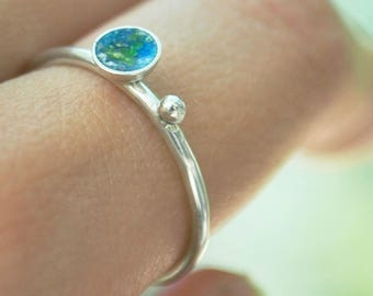 earth and moon ring, space ring, planet ring, minimalist ring