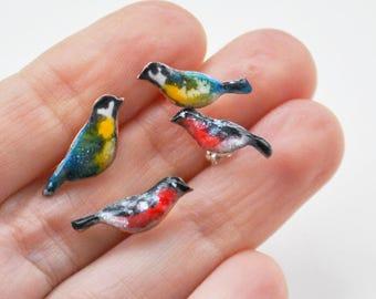 enamel bird earstuds, tiny bird posts