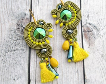 soutache earrings green, soutache jewelry, boho chic earrings, fringe earrings, tassel earrings, chandelier earrings, hippie earrings