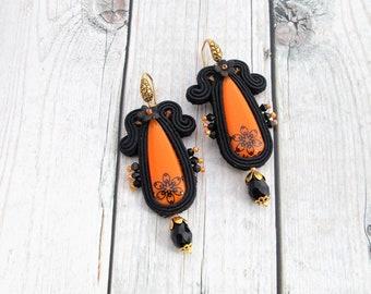 soutache earrings orange, statement jewelry, soutache jewelry, handmade earrings, orange chandelier earrings, black halloween earrings