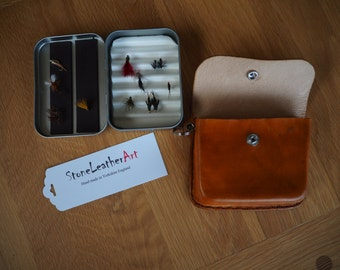 Metal Fly box with leather case
