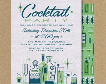 RETRO COCKTAIL PARTY Ad Vintage Bar Poster Retro Mid-Century Champagne Ad