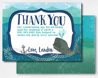 Nautical Whale First Birthday Thank You Cards Baby Theme Printed 1st