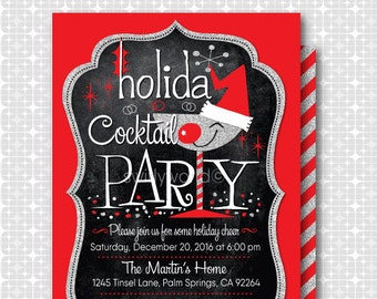 mid century modern 1950s christmas party invitations retro etsy
