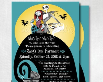 Nightmare before christmas baby shower invitations etsy nightmare before christmas baby shower invitations nightmare jack and sally baby shower invites nightmare halloween baby shower di4525 filmwisefo