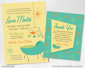 Mid Century Modern Let/'s Flamingle Invitation Mid-century modern summer invite Retro Modern Palm Springs Pool Party Design DI-3050