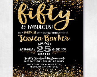 50 and fabulous invitations etsy digital fifty and fabulous birthday invitations gold and silver 50th birthday invites gold and black 50 fabulous birthday theme gold filmwisefo