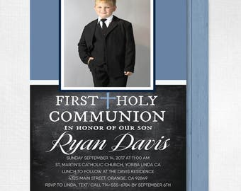 First Holy Communion Invitations Communion For Boys Rustic Etsy