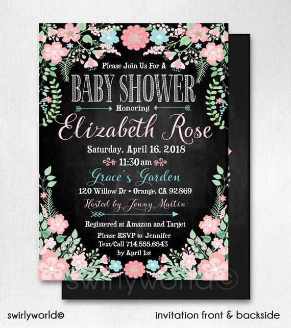 Printed Vintage Baby Shower Invitations Vintage Floral Baby Etsy