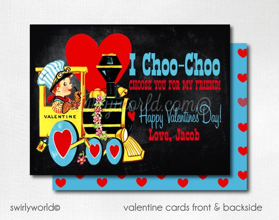 photo about I Choo Choo Choose You Printable Card called Traditional Choo Choo Teach Valentine Playing cards, Electronic Printable 1950s Practice Valentine Card, Electronic Valentine Playing cards, Boys Valentine DIVAL87