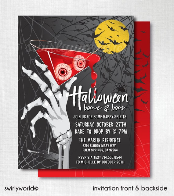 Printed Boos And Booze Cocktail Halloween Invitations Adult Halloween Party Invitations Cocktail Boos And Booze Halloween Party Corjl