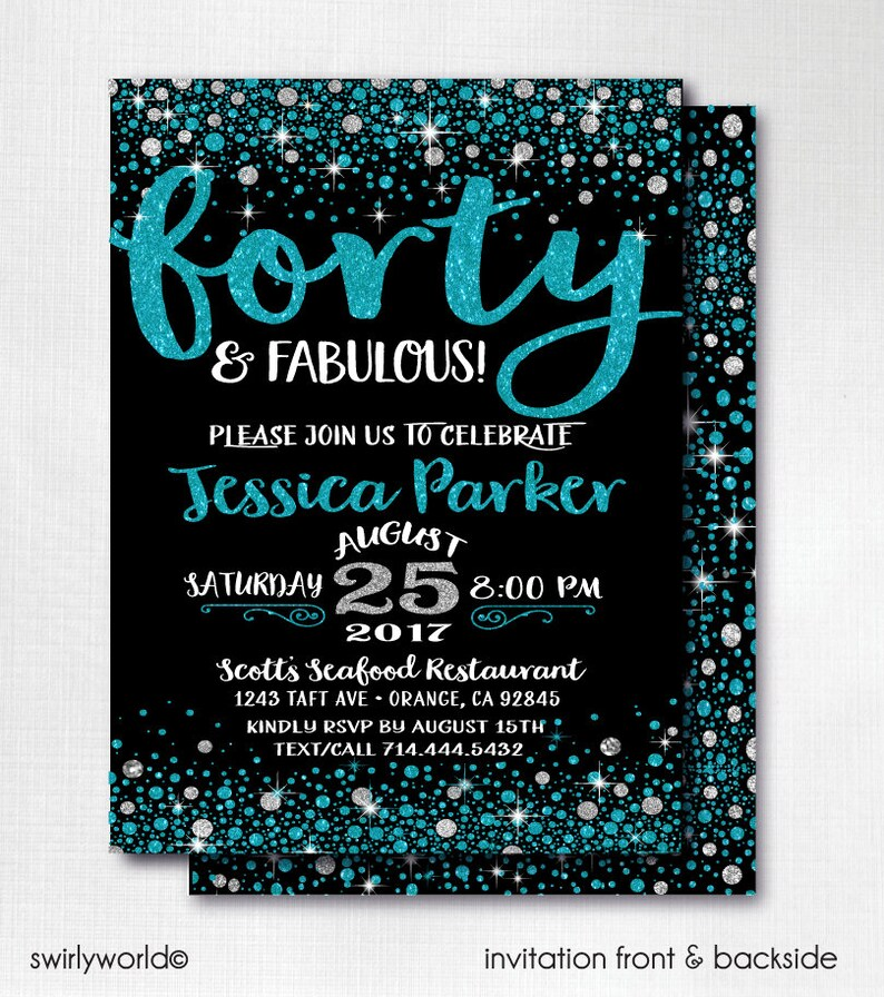 Digital Forty And Fabulous Birthday Invitations Turquoise