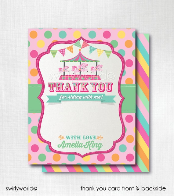 Printed Vintage Carousel Thank You Cards 1st Birthday Thank Etsy