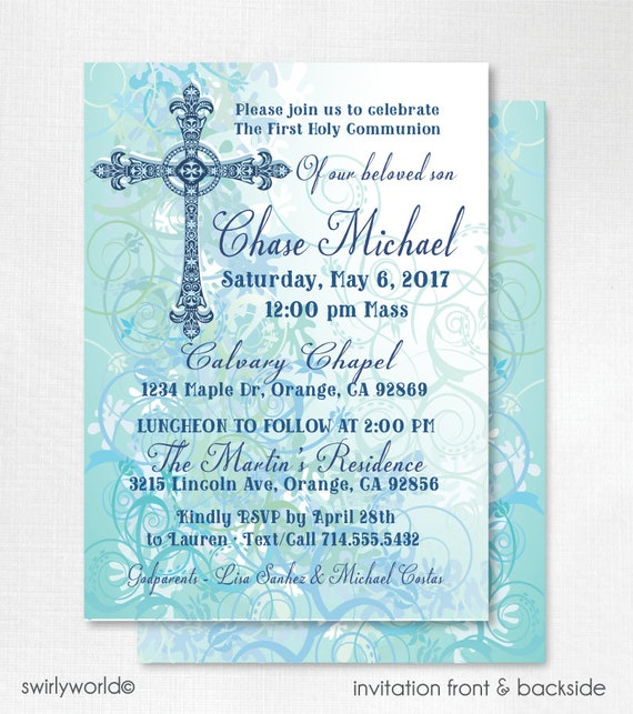 Boy First Holy Communion Invitations Photo Communion For Etsy
