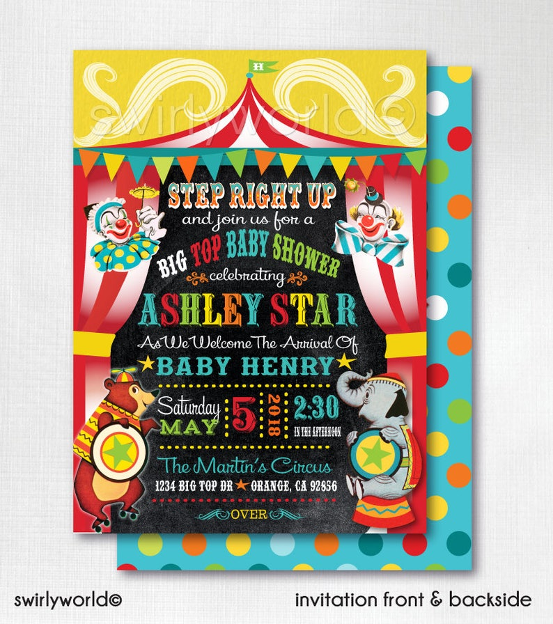 Printed Vintage Circus Carnival Baby Shower Invitations Vintage Circus Baby Shower Party Vintage Circus Shower Theme Baby Shower Di4568
