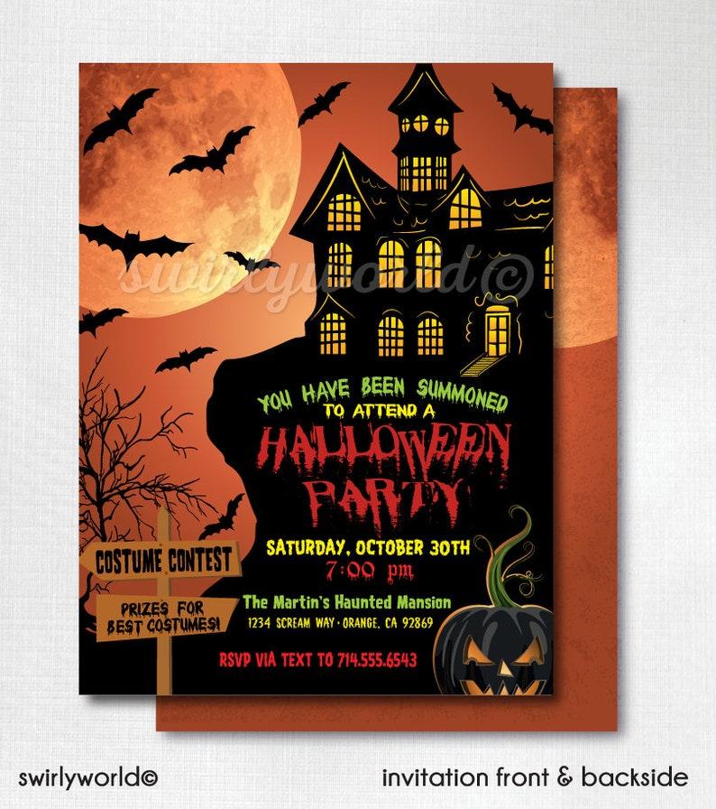 DIGITAL Child Friendly Halloween Birthday Invitations Haunted