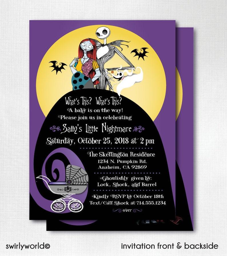 28812dc4782 Digital Nightmare Before Christmas Baby Shower Invitation
