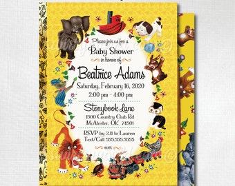 Printed Little Golden Book Invitations, Vintage Little Goldenbook Baby Shower Invites, Goldenbook Baby Shower, Golden Book Baby Shower 4527
