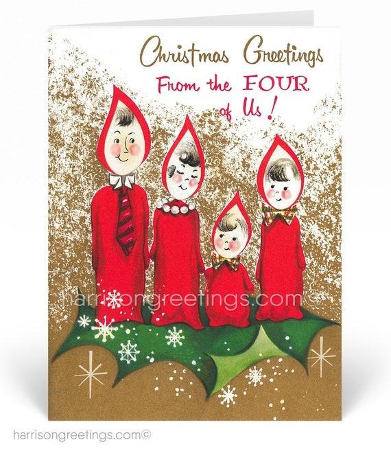 Mid Century Modern Vintage Christmas Cards Printed Retro Etsy