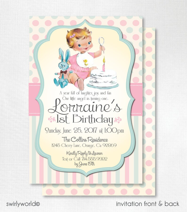 Digital Vintage 1st Birthday Invitations Retro 1950s First Invita