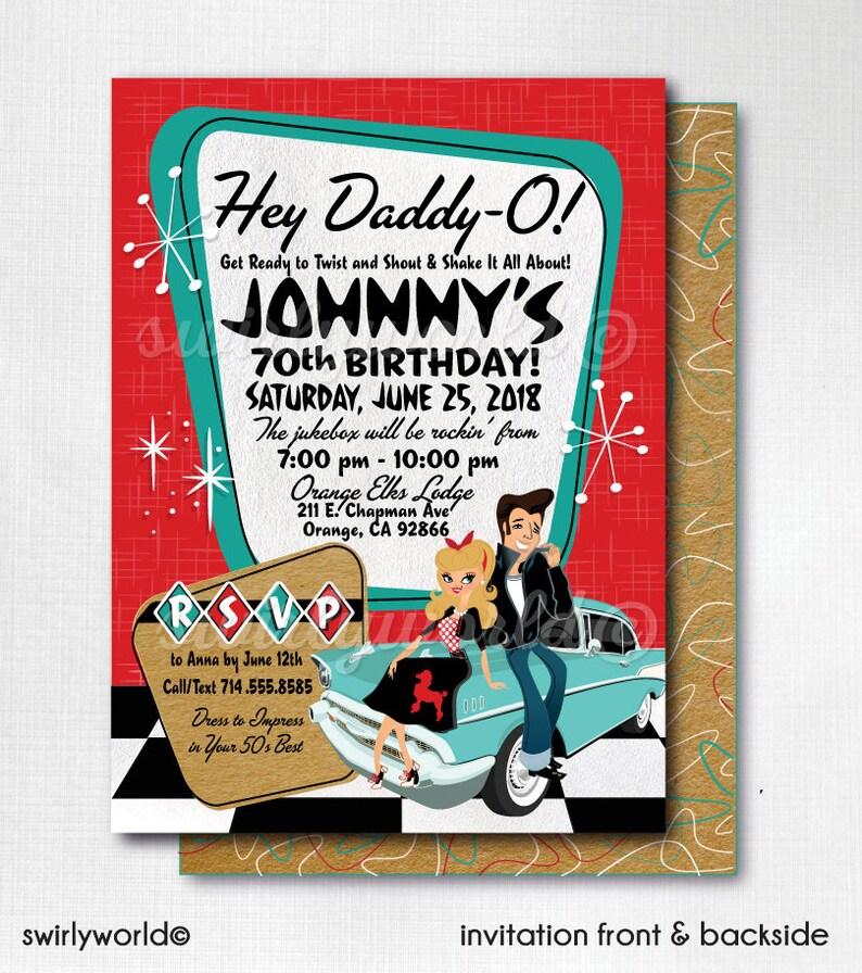 Retro 1950s Birthday Party 50s Rockabilly Invites Grease Pink Ladies Theme Poodle Skirt Rock Around The Clock CORJL
