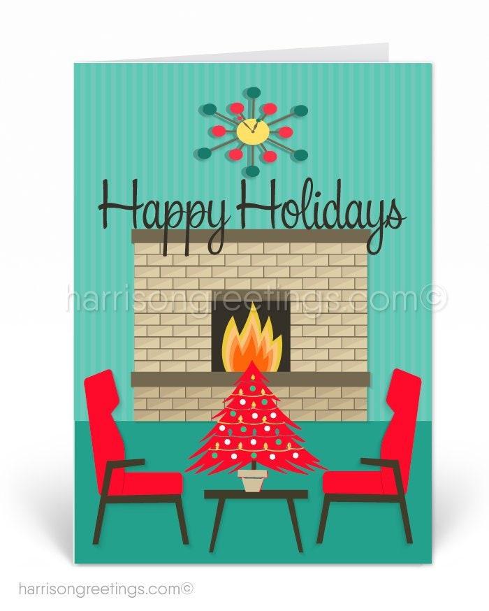 Mid-Century Modern Christmas Cards Printed Retro MCM Holiday   Etsy