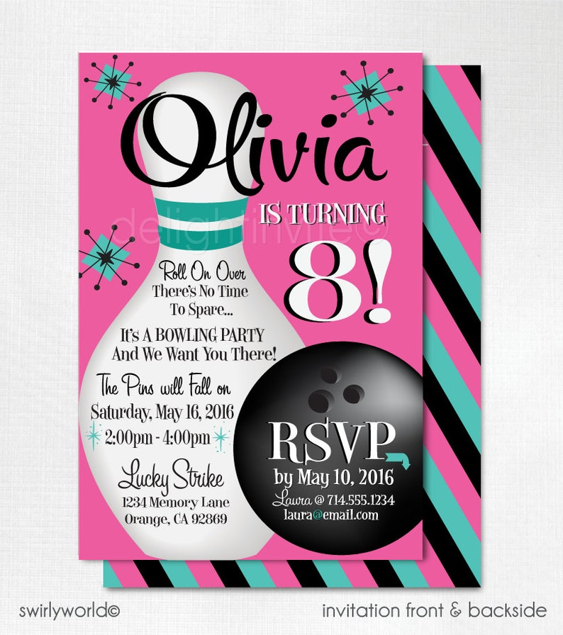 Retro Bowling Invitations Alley Birthday Party