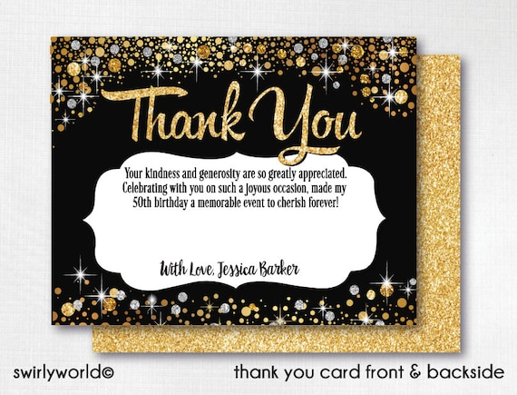 50 And Fabulous Thank You Cards Gold And Black Thank You Etsy