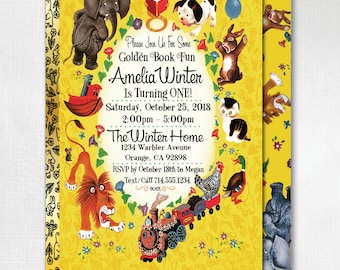 Printed Little Golden Book Invitations, Vintage Little Goldenbook Birthday, Little Golden Book Theme Party, Goldenbook Invites, DI-238FC