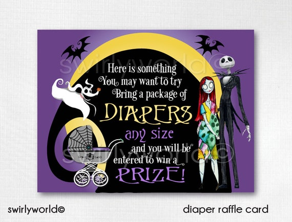 Nightmare Before Christmas Baby Shower Diaper Raffle Cards Etsy
