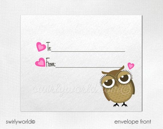 Retro Owl Valentine Cards Digital Printable Owl Valentine Etsy