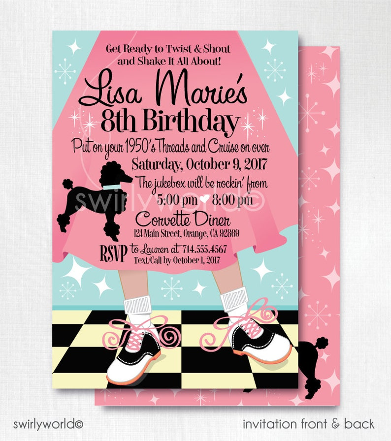 Digital 1950s Birthday Party 50s Theme Invitations Sock Hop Pink Ladies Poodle Skirt Flashback DI200DP