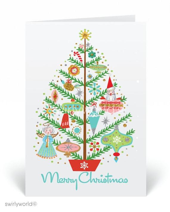 Mid Century Modern Christmas Cards Printed Retro Mcm Holiday Etsy