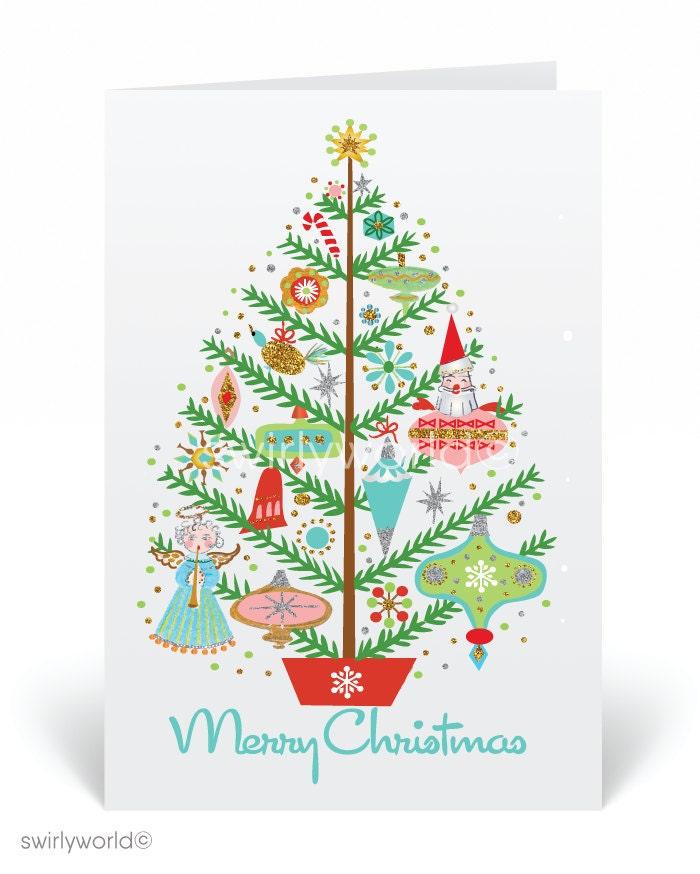 Mid-Century Modern Christmas Cards Printed Retro MCM Holiday | Etsy