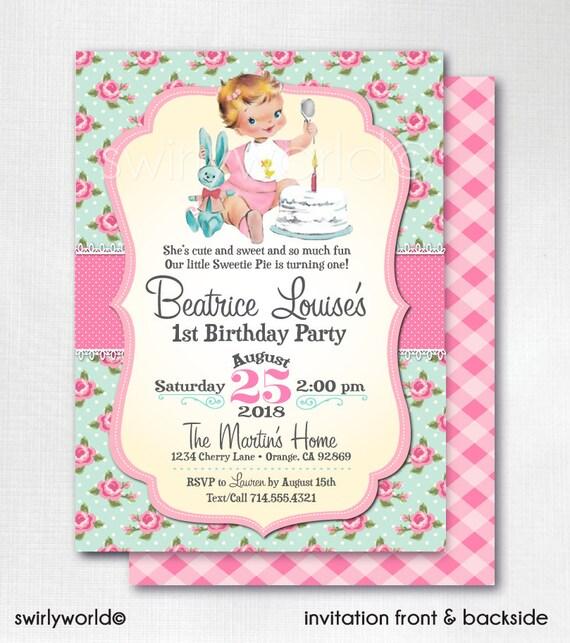 Vintage shabby chic rose 1st birthday invitations for girls etsy image 0 filmwisefo