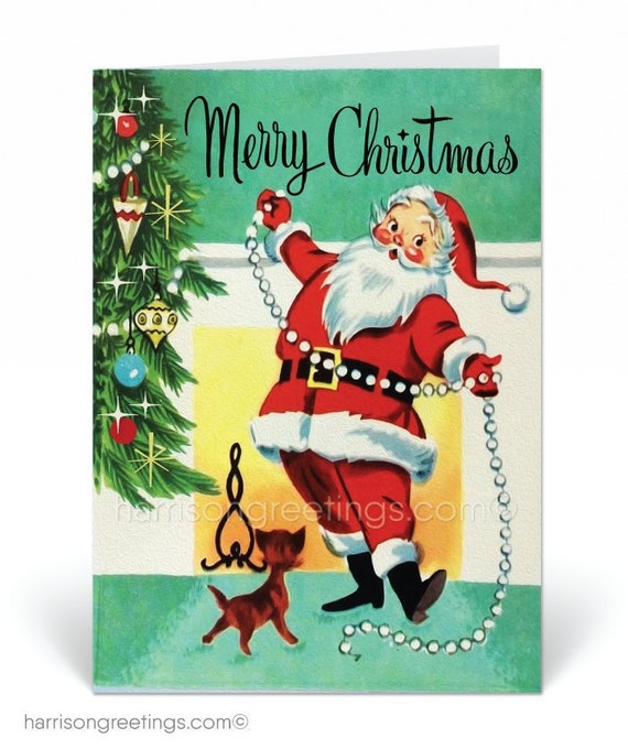 Vintage Christmas Cards.Retro 1950s Vintage Christmas Cards Printed 1950s Vintage Santa Claus Holiday Cards Retro 50s Christmas Vintage Christmas Cards 37537