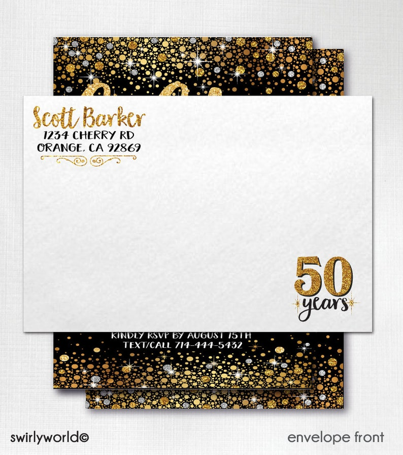 50 And Fabulous Thank You Cards Gold Black For 50th Birthday In